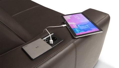 Sedda Modell CUBUS mit Leder Bison Farbe mocca Powerstation USB