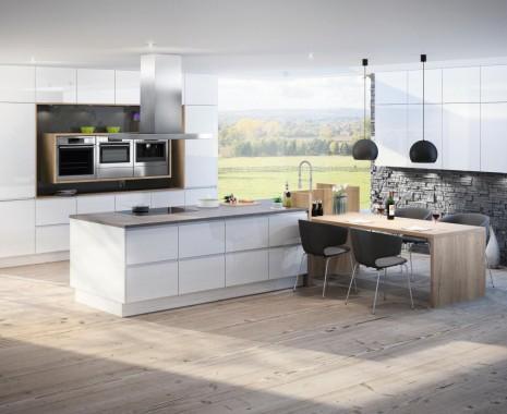 FM Küchen Modell Spitzwies in der Farbe Weiß und Bergeiche